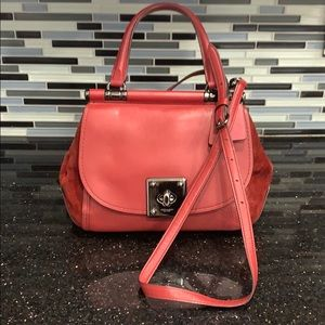 Coach Red Leather and Suede Handbag